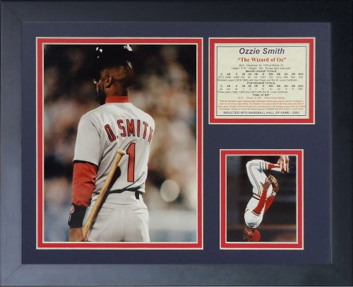 Legends Never Die  Ozzie Smith Final At Bat  Framed Photo Collage  11 X 14 Inch