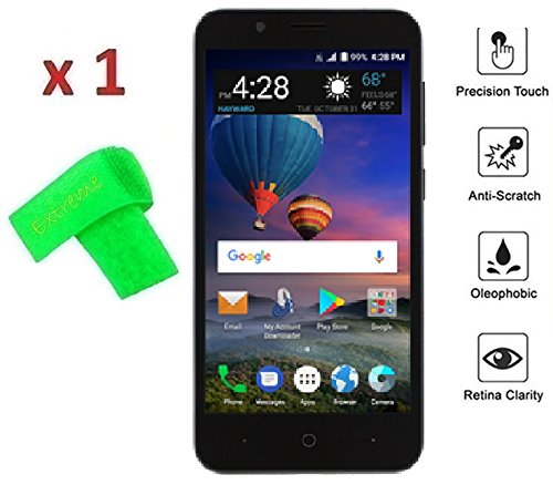 Tempered Glass Screen Protector Guard + Extreme Band + For ZTE ZFive GC  Z557BL Z558VL (Tempered Glass)