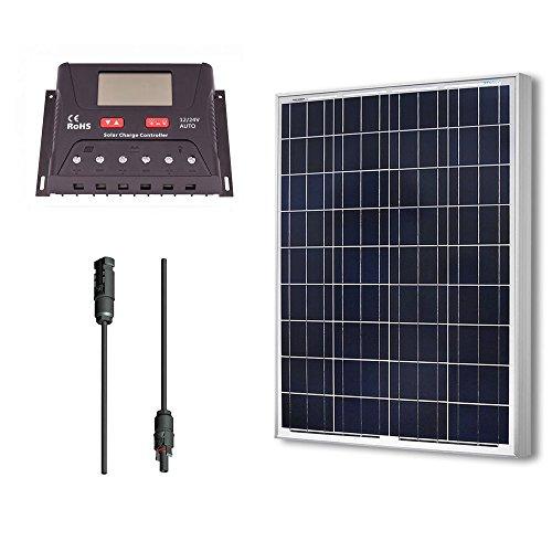 Renogy 100 Watt 12 Volt Polycrystalline Solar Bundle Kit with 30A PWM Controller - LCD Display
