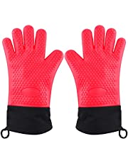 Oven Mitts,Heat Resistan Silicone Oven Gloves Extra Long Waterproof,Non-Slip Baking Mitts for Cooking, Baking, BBQ, Camping, Potholders, 1 Pair