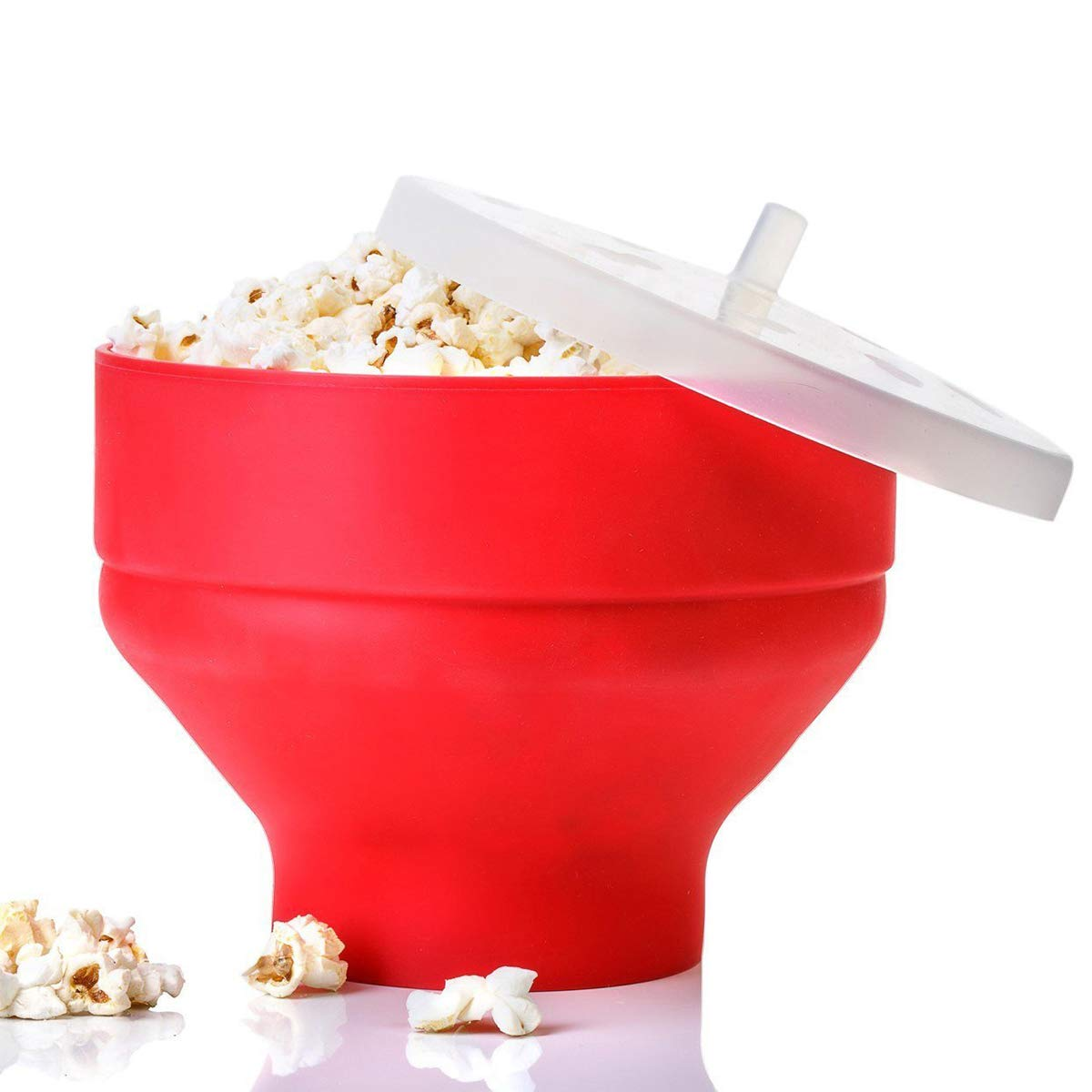 Shengyaju Microwave Popcorn Popper Collapsible Silicone Microwave Hot Air Popcorn Popper Bowl With Lid