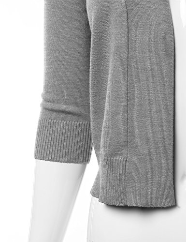 278500444131 CIELO Women s Soft Solid Colored Open Front 3 4 Sleeve Cardigan Grey Large