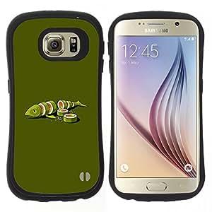 Hypernova Slim Fit Dual Barniz Protector Caso Case Funda Para Samsung Galaxy S6 [Pesce verde Food Art Maki Arte Minimalista]