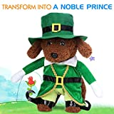 Pawaboo Pet Costume, Pet Dog Cat Costume Prince Standing Costume Outfit Jumpsuit Clothes with Hat for Halloween Cosplay Christmas Dressing Up, Medium Size, Green