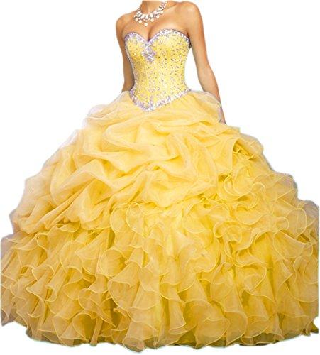 New Quinceanera Gown (Ikerenwedding Women's Beaded Empire Sweetheart Ruffles Quinceanera Dress Formal Prom Gown Yellow US06)