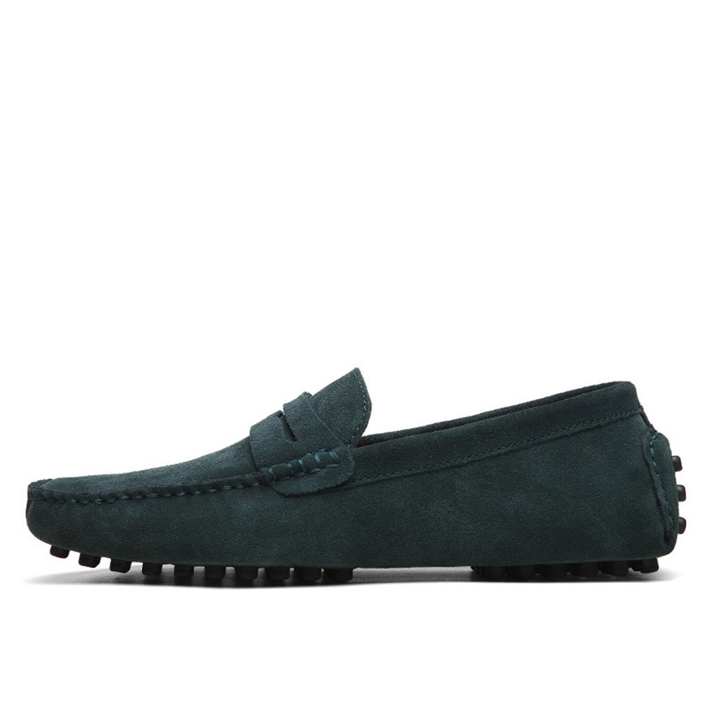 Green FeiNianJSh Men's Genuine Leather Casual shoes Slip-On Driving Penny Loafers Suede Moccasins Boat shoes Up to Size 49 EU Large