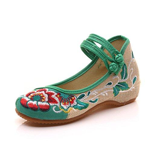 Fanwer Mary Jane Lerret Embroideried Hibiscus Kvinnelige Kinesiske Sko Casual Leiligheter Flattie Aerobic Sko Grønne