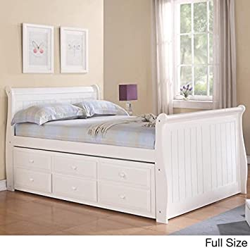 twin size captains bed with storage full trundle kids sleigh drawers white queen