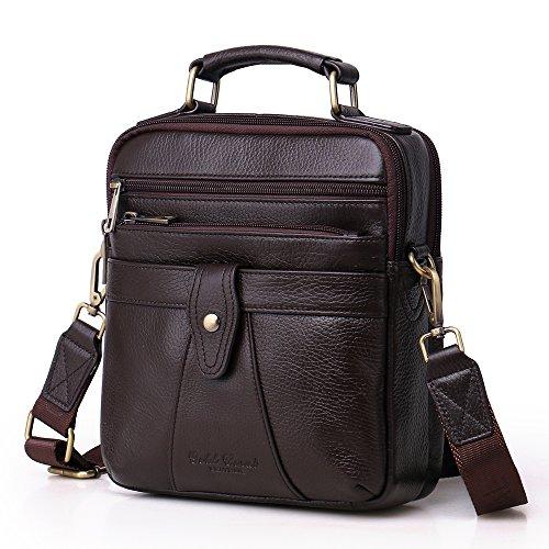 Langzu Handmade Mens Leather Messenger Shoulder Bag Ipad Bag Handbag (coffee-6013)