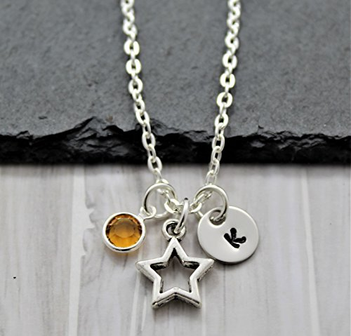 Star Necklace for Kids - Personalized Birthstone & Initial - Star Shaped Jewelry for Women - Fast Shipping (Texas All Star Stainless Steel)