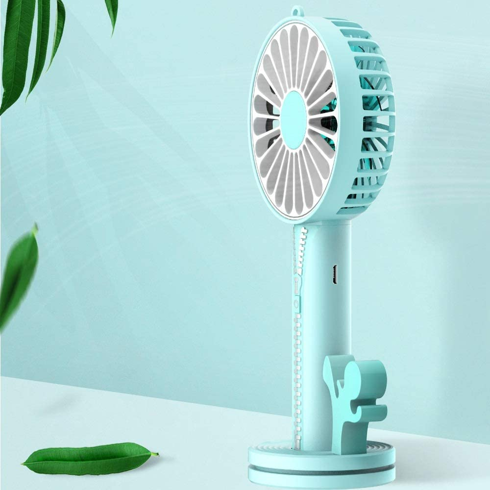 1A 5W Color : A Qi Peng Mini Fan with Makeup Mirror Mobile Phone Holder Mobile Power Multifunction Handheld Portable USB Charging Treasure Fan DC5V