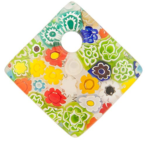 Murano Glass Curved Diagonal Square Pendant, 30mm w/Classic Millefiori ()