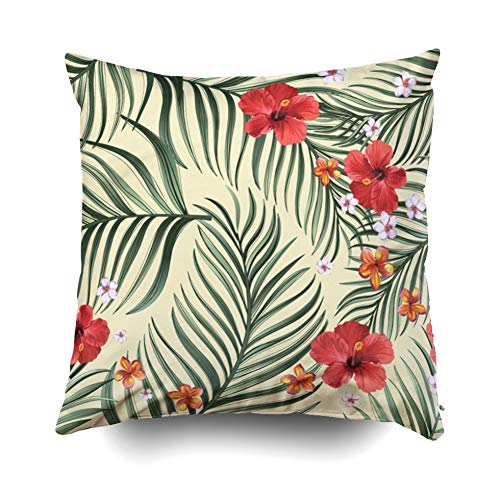 - Pamime Square Throw Exotic Pattern Green Palm Leaves Hibiscus Flower Stock Pillow Case Cover Decorative Cushion for Home 18X18Inches(45X45cm) Pillowcase
