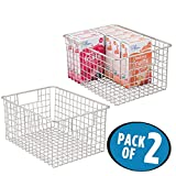 mDesign Kitchen Pantry Organizing Wire Basket with Handles, 12'' x 9'' x 6'' - Pack of 2, Satin