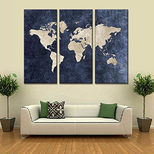 ART 3 Pcs Abstract Navy Blue World Map Canvas Painting Modern Wall Pictures for Office Room Decor Framed Painting Easy to Hang (Wold Map ()