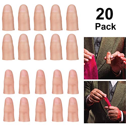 meekoo 20 Pieces Magic Trick Fake Thumb Tips, 2 Sizes Fake Soft Thumb Cover Magic Trick Finger Stage Show Prop Prank Toy