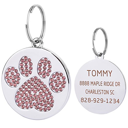 Vcalabashor Pink Rhinstones Cat & Dog Tags for Small Medium Large Dogs/Polished Mirror-Finished Stainless Steel/Sparkly Diamonds Paw Printed/Clear Laser Engraved / 1.0