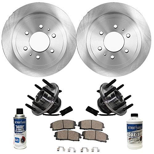 Detroit Axle - Front Wheel Hub Bearing Assembly, Disc Brake Rotors w/Ceramic Pads w/Hardware & Brake Cleaner for 2WD - Chevy GMC Escalade Avalanche Sierra Silverado Savana Tahoe Yukon XL 1500