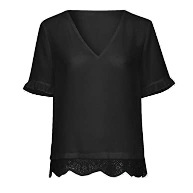 f16cb01d845 Amazon.com  Women Ladies V Neck Short Sleeve Lace Decor Solid T Shirt  Pullover Top  Clothing