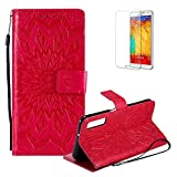 Funyye Strap Magnetic Flip Cover for Samsung Galaxy A7 2018/A750,Premium Red Sunflower Embossed Pattern Folio Wallet Case with Stand Credit Card Holder Slots Case for Samsung Galaxy A7 2018/A750,Shockproof Ultra Thin Slim Fit Full Body PU Leather Case for Samsung Galaxy A7 2018/A750 + 1 x Free Screen Protector