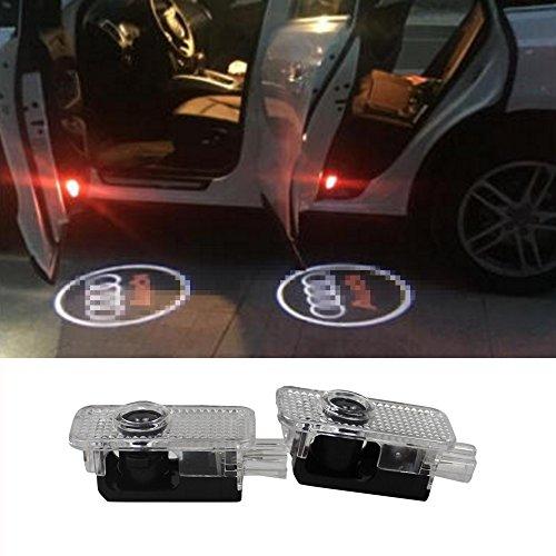 2 Pcs Audi Car Door LED LOGO Light Laser Projector Ghost Shadow Lights Welcome Emblem Lamp Bulbs Easy Installation for Audi A3 A4 B5 B6 B7 B8 A6 C5 C6 A5 TT Q7 A4L A1 A7 R8 A6L Q3 A8 A8L