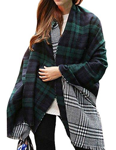 Amazon #LightningDeal 93% claimed: Women's Scarf Plaid Striped Scarves Shawls Blanket Poncho with Fringe Trims