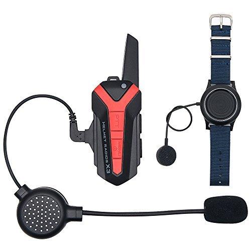 Motorcycle Helmet Bluetooth Intercom Headset, BT Interphone Speaker Communication System Up to 3000M Range Wireless Bluetooth Headphones Walkie Talkie with PTT Wireless Control 16 Channels/Waterproof TOP-MAX X3PLUS
