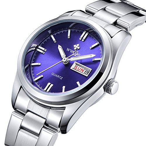 Women Wrist Watches Purple Face Female Analog Quartz Watches with Calendar Week Silver Stainless Steel Band (Face Purple)