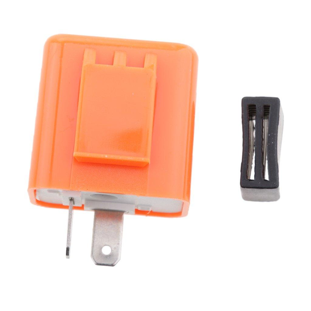 MonkeyJack 2-Pin 12V Motorcycle LED Turn Signal Flasher Relay Speed Adjustable Indicator Orange