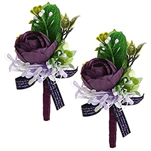 Febou Boutonniere Pack of 2 Wedding Boutonniere for Groom Bridegroom Groomsman Perfect for Wedding, Prom, Party (A-Purple) 16