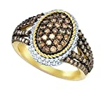 10K Yellow Gold Brandy Diamond Chocolate Brown Beautiful Oval Fine Rope Design Ring 1-1/5 Ctw.