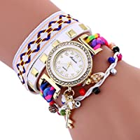 Womens Watch,Howstar Stylish Womens Key Pendant Leather Bracelet Analog Quartz Watches