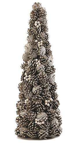 intage-Inspired Pine Cone & Pearl Topiary, Antique Platinum 26