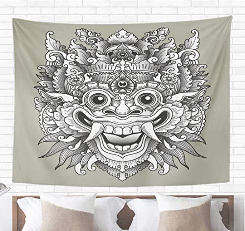 Topyee Home Decorative Tapestry Wall Hanging Indonesia Balinese Barong Traditional Mask Tattoo Bali Indonesian Asian 60
