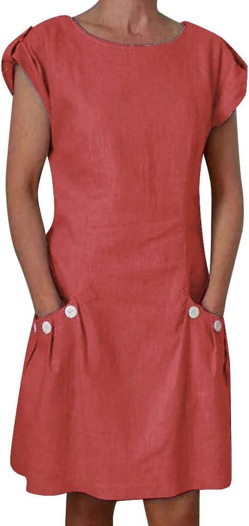 Weant Sommerkleid Leinen Kleider Damen Rundhals Kurzarm Strandkleider Einfarbig A-Linie Kleid Boho Knielang Kleid Baumwolle Leinen Tunika Kleid Maxikleid mit Taschen