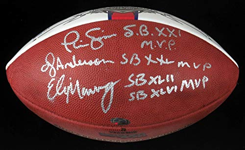 Eli Manning Phil Simms OJ Anderson Giants Super Bowl MVP Signed Football - Steiner Sports Certified - Autographed Footballs