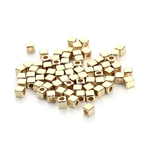 Linsoir Beads Gold Tone Tiny CCB Material Cube Spacer Beads 3mm Square Beads Pack of 200