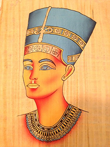 Huge Ancient Egyptian Bust of Queen Nefertiti Handmade Painting on Papyrus Plant from Egypt....