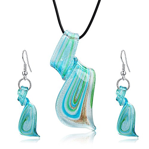 Jardme Jewelry Sets Mix Twisted Lampwork Glass Murano Inspiration Pendants Necklace