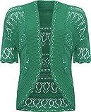 WearAll Women's Plus Size Crochet Knitted Short Sleeve Cardigan - Green - US 12-14 (UK 16-18)
