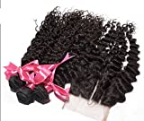 Wholesale DaJun Hair 8A Peruvian Virgin Remy Human Hair Deep Wave With Closure Hair Bundles 3 Way Part Natural Color 8''closure+14''14''14''weft