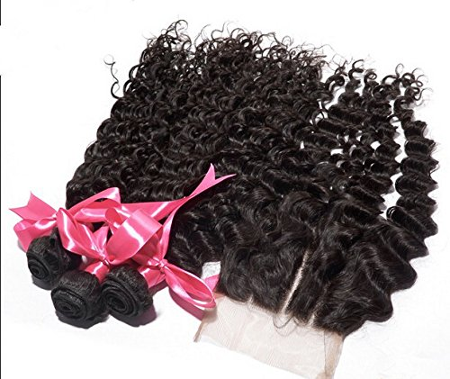 Cheap DaJun Hair 7A Cambodian Virgin Remy Human Hair deep wave with closure 3 Way Part Natural Color 8''closure+14''14''14''weft by DaJun