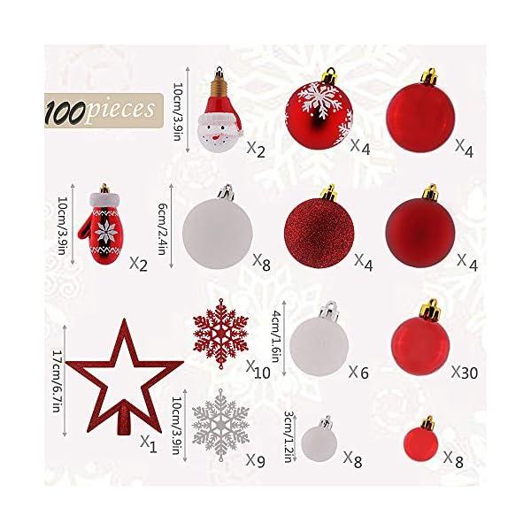 Victor's Workshop Addobbi Natalizi 100 Pezzi di Palline di Natale, Oh Cervo Rosso e Bianco Infrangibile Palla di Natale Ornamenti Decorazione per la Decorazione Dell'Albero di Natale 3 spesavip