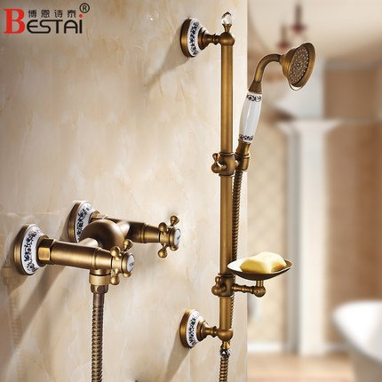 Furesnts Modern home kitchen and Bathroom Sink Taps Antique shower bath Head Kit Continental hot and cold shower easy full copper  Bathroom Sink Taps,(Standard G 1/2 universal hose ports)