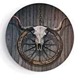 iPrint 8'' Porcelain Dinner Plate with Stand Barn Wood Wagon Wheel Long Horned Bull Skull and Old West Wagon Wheel on Rustic Wall Decorative