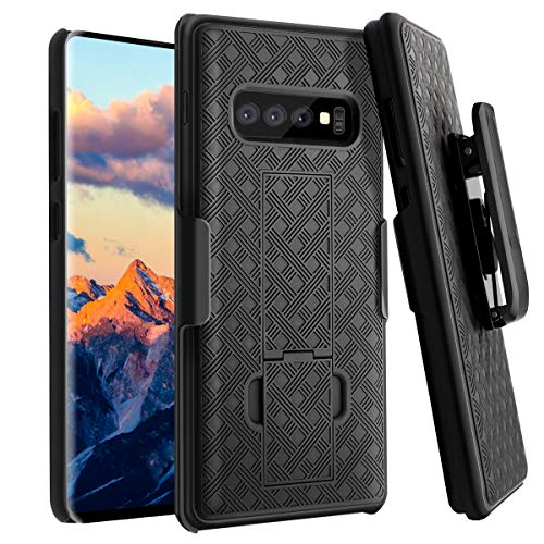 Fingic Galaxy S10 Plus Case, S10 Plus Combo Shell Holster Case Slim Fit Shell with Swivel Belt Clip Holster Bulit-in Kickstand Protective Cover for Samsung Galaxy S10 Plus 6.4 inch - Black