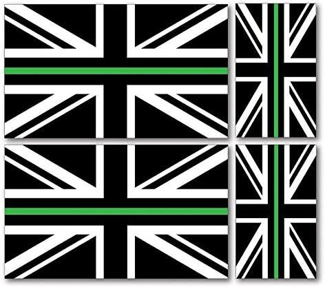 PARAMEDIC UNION JACKS CAR VAN STICKERS Landing Designs 4 X THIN GREEN LINE