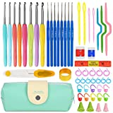 Arts & Crafts : Premium Crochet Hooks Set with 53-in-1 Knitting Tools (Handle Knitting Hooks, Color Needles, Crooked Needles, Row Counter, Counting Circular Ring and more) Crochet Sets for Best Gift