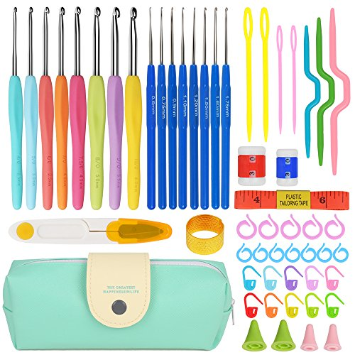 Premium Crochet Hooks Set with 53-in-1 Knitting Tools (Handle Knitting Hooks, Color Needles, Crooked Needles, Row Counter, Counting Circular Ring and more) Crochet Sets for Best Gift