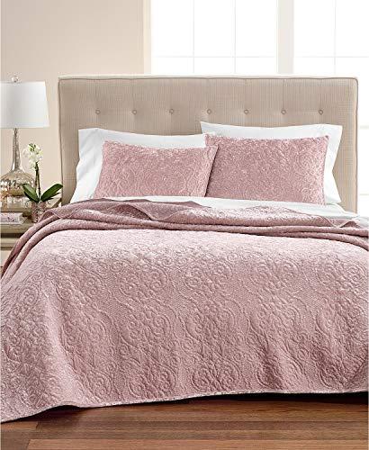 Martha Stewart Bedroom Collection - Martha Stewart Collection Pink Rose Velvet Flourish King Quilt Pink Rose